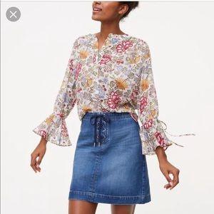 Loft Denim Skirt with lace-up detail